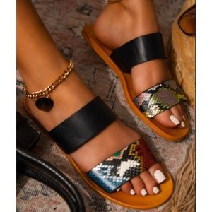 Snake Print Double Band Strappy Flat Sandals